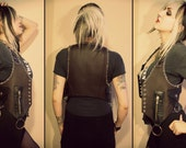 Kissin' Bombs fauxleather vest with stitches