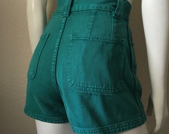 Vintage Women's 90's Colored Denim Shorts, High Waisted, Teal, Jean Shorts (XS/S)