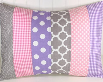 Pillow Cover, Nursery Cushion Cover, Baby Girl Nursery Decor, Pillow Cover, 12 x 16 Inches,Lavender, Purple, Baby Pink, Gray, Grey, Dots