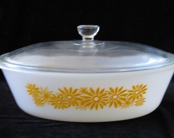 Vintage Retro Mod Milk Glass Glass Covered  1 and 1 Half Quart Casserole Dish with Pale Orange DeepGolden Yellow Floral Flower Power Motif