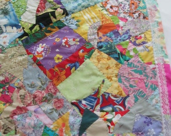 HANDSTITCHED Twinkling Hawaiian Crazy Patch Quilt by Marianne of Maui Heirloom Quilts ~