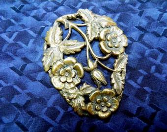 Antique Brass Art Nouveau Dress Clip, Scarf Clip, Fur Clip, Pendant, Repousse Flowers