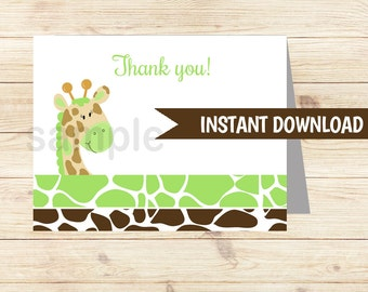 Green Giraffe Folded Thank you notes INSTANT DOWNLOAD bs-008