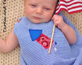 4th of July Gingham Boys Romper with Rocket Applique sizes 3mos, 6mos and 9mos
