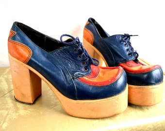 RARE Vintage 60s 70s Amazing Chunky Platform Shoes