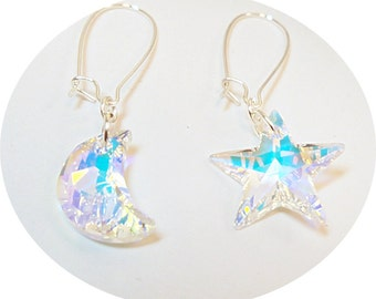 Moon Star Earrings, Austrian Crystal Earrings, Mismatched Earrings, Moon Earrings, Star Earrings, Crystal Dangle Earrings, Funky Earrings