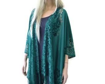 Hunter green Kimono-Bohemian Lace Kimono cardigan-Forest green Fringe kimono/Ruana -Oversize kimono-Only one