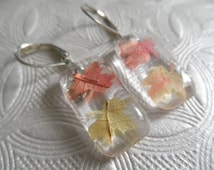 Falling Autumn Leaves-Tiny Ombre Autumn Maple Leaves Glass Rectangle Leverback Earrings-Harvest,Rustic, Earthy-Nature's Art-Gifts Under 25
