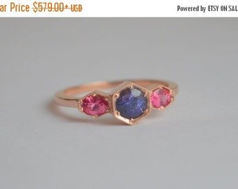 SALE Three Stone Hexagon Ring in 14 Kt Rose Gold with Mahenge Spinel and Ceylon Sapphire