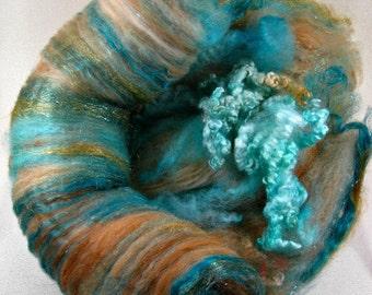 Coppered Turquoise Wild Card Bling Batt for spinning and felting (3.9 ounces), batt, art batt