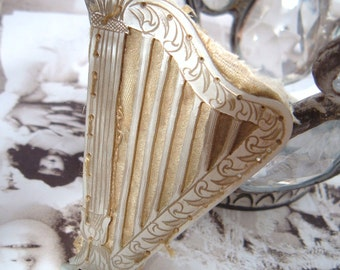Victorian Engraved Mother Of Pearl And Satin Harp Or Lyre