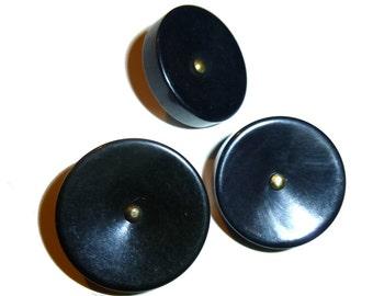 "Three Vintage Bakelite Buttons.  3/4"" Diameter Round. Black. 1940s. Tested Bakelite."