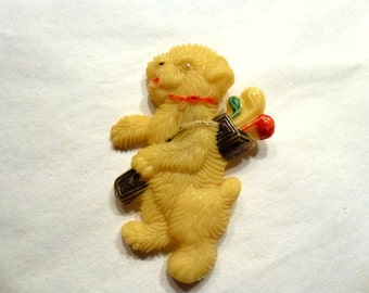 Whimsical Celluloid Golfing Dog Pin. Made In Japan. 1940s. Large Early Plastic Brooch.