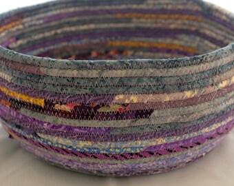 Light Blue and Lilac Medium-Sized Fabric Basket