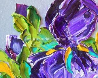 Abstract Oil Painting Sale Art Impasto Purple Iris , Summer