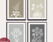 Wild Flowers Botanical Prints (Series C2) Set of 4 - Art Poster Prints (Featured in Neutral Color Palette) Vintage Modern Art Prints