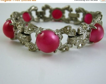 Love Yourself Sale Art Deco Pot Metal Bracelet with Deep Pink Moonglow Thermoset Cabochons and Rhinestones