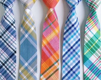 Necktie, Boys Tie, Baby Tie, Tie Necktie, Madras Plaid, Plaid, Wedding Ties, Skinny Ties, Plaid Tie, Ring Bearer - Organic Madras Plaid