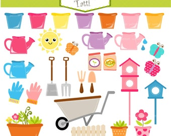 ON SALE garden tools clip art -Watering Can clip art, gardening tools clip  art, Jpg and Png, instant download