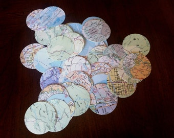 100 vintage map confetti in circles