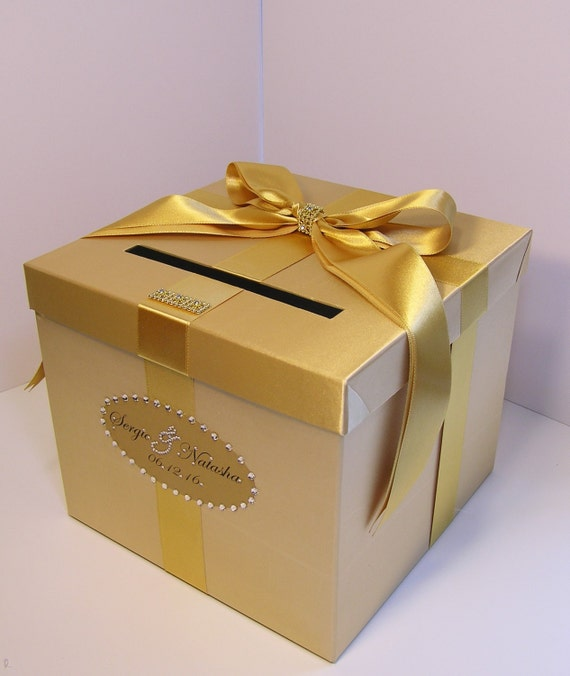 Gift Box Gold : Wedding card box gold gift money holder customize