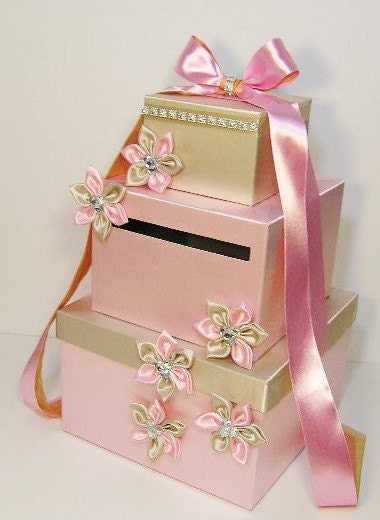 Baby gift money : Wedding card box light pink and champagne gift money