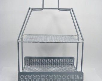 Vintage Metal Rack Perforated Metal Two Tier Shelf Magazine Rack Dessert Tray