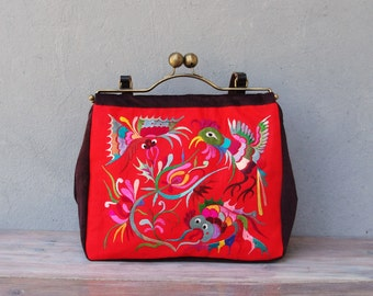 Vintage Silk Embroidery Bag, Red Bag, Kiss-lock, Leather, Velvet - Garden of Eden