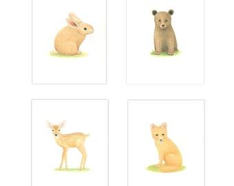 WOODLAND NURSERY ART  Wookland Animal Prints 4 Print Set  Nursery Prints  animal Nursery Art Bear, Bunny Rabbit Deer FoxToddler room art