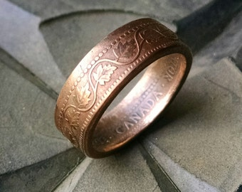 Coin Ring - Canadian Copper Penny Coin Ring - Leaf Pattern - Size: 7 1/4