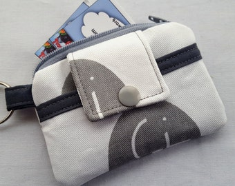 Zippy Zipper Wallet Pouch Key Chain Card holder - White with Grey Elephants
