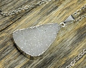 SALE - White Druzy Necklace, White Druzy Pendant, Druzy Jewelry, White Silver Necklace, Druzy Silver Pendant, Crystal, Sterling Silver Chain