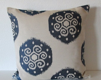 ON SALE Blue ikat decorative throw pillow cover - blue and natural ikat accent pillow cover