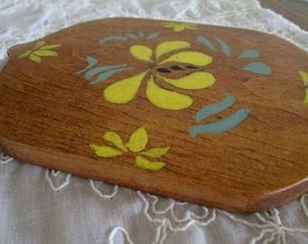 vintage handmade painted wood trivet
