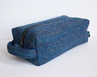 Harris Tweed men's wash bag in blue herringbone
