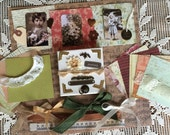 Vintage Style Art Kit with 4x4 Chunky Canvas, instructions, photos, lace, and accents