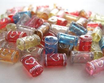 FREE SHIPPING - 23 pcs Decorated Tube Acrylic Beads (#1317)