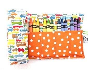 Crayon Roll - Rush Hour - car crayon holder, boy gift, 24 crayons, car party favor