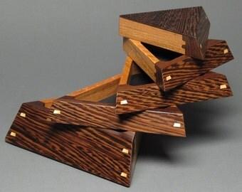 Pivoting Jewelry Box with Weighted Base, 'The Trapezoid Box',  Wenge and Jatoba