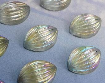 Vintage Glass Cabochon 6 pcs 14x10 mm Blue iridescent Stones S-112