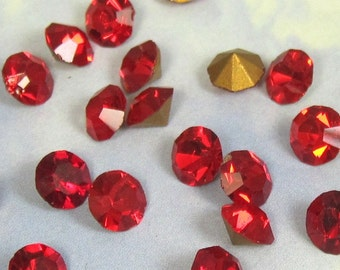 Red Point back Crystal Rhinestone 144 pcs 7mm Light Bright RED Foiled Jewel S-431 BULK 26