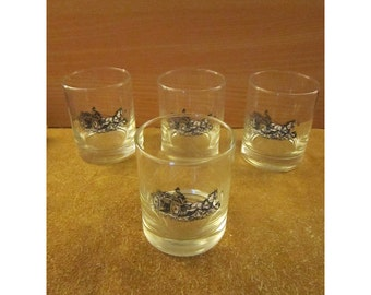 Vintage Libby Fireman Tumblers – Fireman on Carriage Silhouette Design – Set of 4 Clear Beverage Glasses