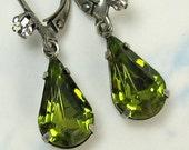30% OFF Olive Green Swarovski Crystal Tear Drop Earrings with Antique Silver Rhinestone Earwire