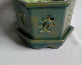 Large Hex Orchid Pot/Planter with Asian Symbols