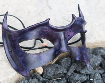 Purple Horned Leather Mask
