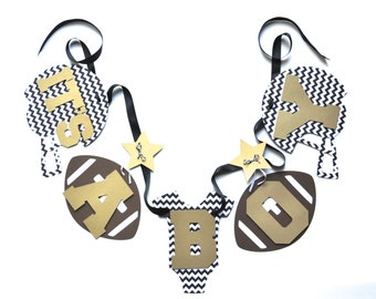 NEW Larger Size Football baby shower decorations black white and gold chevron it's a boy banner by ParkersPrints on Etsy