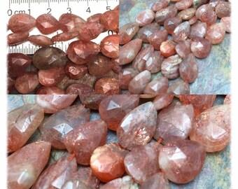 Hand Cut Faceted glittering Sunstone Semi-Precious Faceted Gemstones Beads. 14 PC