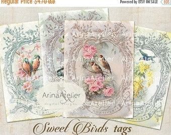 SALE 30% OFF - TAGS Sweet Birds - Digital Collage Tags - Scrapbooking - Vintage Birds Cards - Digital Collage Images - Digital printables -
