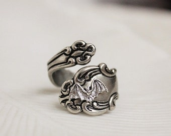 MOTHERS DAY SALE Bat Spoon Ring Silver Victorian Gothic