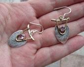 Sale, Slavic Style Pink Kunzite Earrings, 925 Silver, Kievan Russ